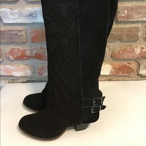 Suede Leather Tall Black Lazer Cut Boots EUC